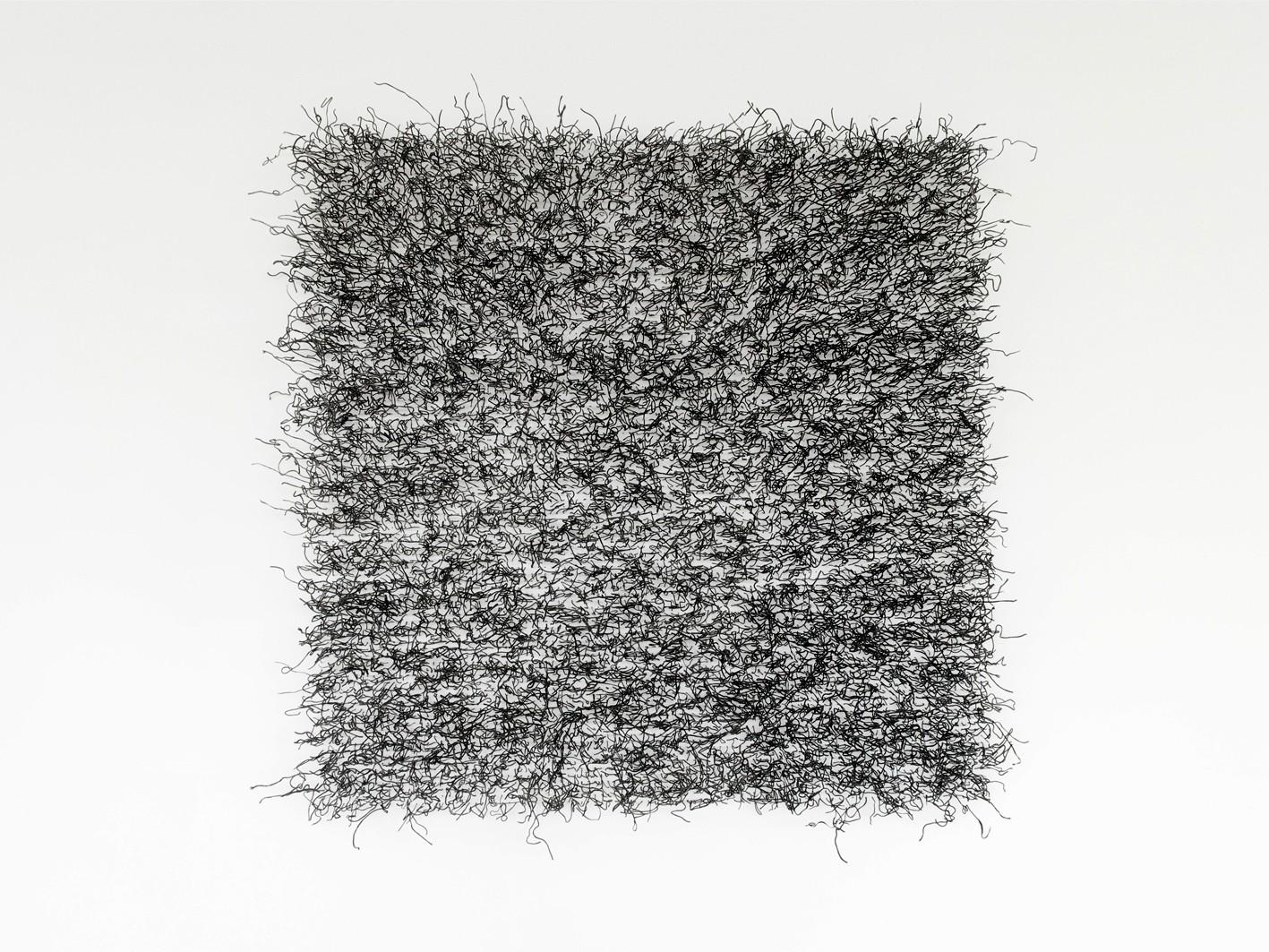 Franziska Baumgartner, Kunst, Installation, eingefärbte Glasnudeln, Quadrat, Wandarbeit